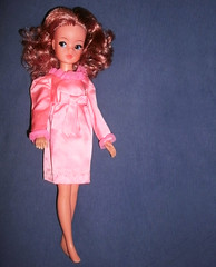 Sindy in 'Little Bow Pink' (skipscales) Tags: pink vintage mod redhead curly satin mattel pedigree sindy sideglance