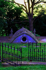 All May Enter--None May Leave (photosattva) Tags: old blue sunset green cemetery graveyard architecture photography death evening memorial alone photos path tomb tombstone graves burial vault aged crypt photoart pathway deceased photosphotography