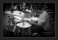 playing the drums (carlespuig) Tags: street people urban blackandwhite bw music drums catalonia bateria vic catalunya gent osona playingdrums