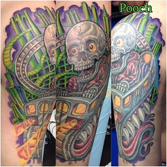 Finished the green and purple area today, other stuff is about a year old #newskool #newschool #poochskool #poochcoaster #nyccoaster #rollercoastertattoo #neotat @neotatmachines @fusionink_ca #fusionink