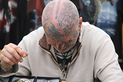 mike   from buckle mania (malcolm barker liskeard) Tags: show england man festival closeup canon painting hair photography eos cornwall faces shots stage devils bikes his nosering local tatoos badges tatoo bikers cornish calstock dysplay eos7d calstockbikeshow looemusicfestival2013