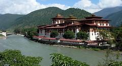 (marcwiz2012) Tags: bridge panorama architecture river landscape asia riverside bhutan traditional dzong punakha