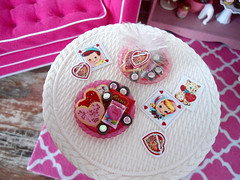 Putting the plates together. (JunqueDollBoutique) Tags: pink decorations red cookies fashion day candy banner barbie ment valentines re fr royalty diorama playscale