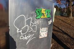 Hadone, Stok, Teo (NJphotograffer) Tags: new electric graffiti sticker box elc nj teo jersey had slap sk usps graff cto fumes stok 1134 hadone