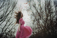 She was made of roses (Andrea Peipe) Tags: flowers winter roses woman cold me self project petals 452 pinkdress 52weeks