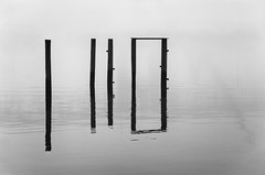 Infinity's Door (firehorsefx) Tags: blackandwhite abstract reflection water river landscape photo nikon minimalism pylons minimalist d600