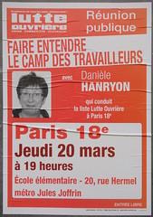 Runion publique avec Danile Hanryon (emmanuelsaussieraffiches) Tags: poster political politique affiche lutteouvrire