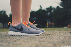 nike roshe run (thatgirlwiththekicks) Tags: orange grey shoes running run sneakers trainers nike runners kicks roshe