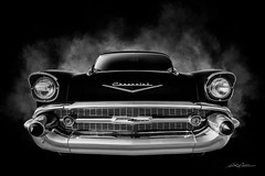 Ghost of 57 (DL_) Tags: 57chevy vintage classic chevrolet transportation automotive blackandwhite