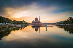 A calm morning (Jimmy Lam S.K.) Tags: morning sun man reflection river big nikon soft long exposure extreme mosque calm tokina made 09 lee pro putrajaya rise f28 putra stopper atx gnd flickraward 1116mm nikonflickraward nikonflickrawardgold d800e