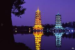 Sun and Moon Pagoda II (hapePHOTOGRAPHIX) Tags: hapephotographix asia asien china nikonf80 guilin guangxi sunpagoda moonpagoda sonnenpagode mondpagode lakeshanhunachtaufnahme blauestunde nightphotography noche bluehour horaazul 桂林市 guǎngxī 廣西 广西 156chi dsplyys