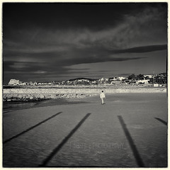 Follow Those Lines... (s a s h i) Tags: sea blackandwhite beach clouds spain sitges sashi alexarnaoudov