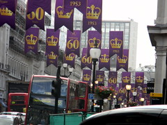 Celebrating queens 60 years coronation banners purple gold Regent Street London England 15th June 2013 republic 15-06-2013 17-33-45 (dennoir) Tags: