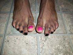 Sally Hansen - Flashy Fuchsia and Milani - Black Swift nail polish (hyellow) Tags: black cute feet nice toes long pretty unique nail fuchsia polish nails pedicure