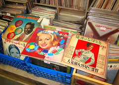 "Seoul Korea vintage Korean vinyl LPs at retro record shop - ""Diverse Dusties"" (2) (moreska) Tags: art english shop vintage shopping asia market 33 lounge chinese vinyl culture jazz style korea pop oldschool retro used nostalgia cover collections 1950s seoul record grooves jukebox 1960s flea 13 secondhand rok rpm hangul lps pungmul ktel medleys dusties koreanlabels pasthits"