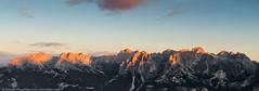 Panoramic view of Dolomites mountains ridge (nickolay_khoroshkov) Tags: morning travel summer sky italy panorama mountain alps nature rock sunrise trekking landscape tirol high twilight view outdoor hiking rocky peak panoramic ridge alpine valley range dolomites dolomiti valdifassa