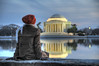 Reflecting on the Jefferson Memorial HDR (trustforthenationalmall) Tags: people reflection reflecting washingtondc dc washington districtofcolumbia nikon memorial unitedstates hdr d300 18200mm photomatix