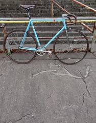 rickert track (detroitbass) Tags: wood blue bike concrete early track phil ace cyan gear 531 70s fixed hugo velodrome brooks dura reynolds syndikat campagnolo rickert