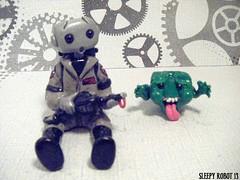 Ghostbuster Robot and Slimer 2 (Sleepy Robot 13) Tags: cute robot diy handmade robots polymerclay fimo comicbook kawaii sculpey etsy urbanvinyl marvel sculpting smallbusiness sleepyrobot13 polymerclayurbanvinylsleepyrobot13etsysilvercraftcraftscraftingsculptingsculpturefigurinearthandmadecraftshowcutekawaiirobots