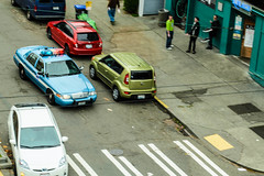 Cop Car (eakidwell) Tags: above seattle urban washington cops action police wa capitolhill seattlepolice spd kingcounty fordcrownvictoria nleaf