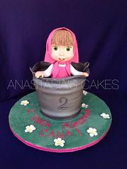 Masha in the Bucket (Anastasia's Cakes) Tags: cake town bucket jumping hand rice cape edible masha modeled  crispies    mashaandthebear