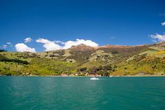 Small Village (Jocey K) Tags: cruise light sea newzealand clouds blackcat boat village hills bankspeninsula akaroa