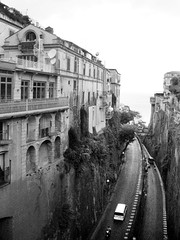 Piazza Tasso Sorrento Streets (shaire productions) Tags: road street camera city travel urban blackandwhite bw italy mountain streets monochrome canon buildings outdoors photography town photo blackwhite construction italian image hill picture rocky pic monotone ps canyon structure photograph pointandshoot grayscale sorrento pointshoot imagery greyscale sherriethai piazzatasso shaireproductions