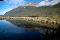 Beautiful Area (Jocey K) Tags: trees newzealand lake snow mountains water clouds reflections bush valley nz southisland lanscape mirrorlakes fiordlandnationalpark southwestnewzealandworldheritagearea