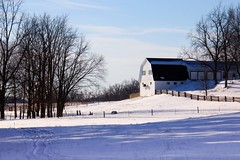 Winter in Michigan (Kathy~) Tags: winter snow barn rural michigan dexter fc 2014 favescontestwinner