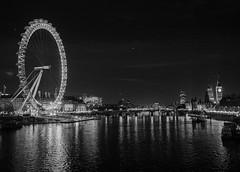 River Thames in black and white (adairfarrar) Tags: london thames night blackwhite londoneye bigben olympus f28 hungerfordbridge 17mm mzuiko epl5