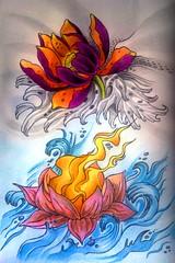 Natural Disasters (Tanya Flyin) Tags: flower color art water fairytale fire sketch paint waves sketchbook fantasy draw gelpens disasters lotos gelpen