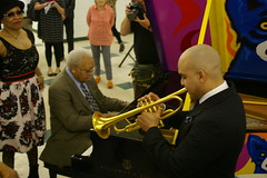 Irvin Mayfield, Dee Dee Bridgewater, and Ellis Marsalis at the New Orleans Jazz Market Groundbreaking Ceremony, February 25, 2014, New Orleans, Louisiana