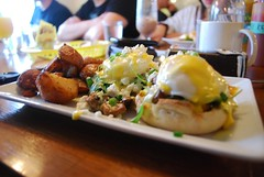 Eggs benedict (heatherjoan) Tags: food canada english home breakfast vancouver woodland potatoes bc sunday columbia sandwich east fries vegetarian eggs brunch benny british local strathcona grandview muffin bun eastvan hollandaise poached meatless sooc