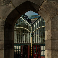 Stockport Market Hall (Bruce Poole) Tags: red green glass stone manchester iron arch cheshire northwest market stockport through marche markethall greatermanchester northwestengland throughthearch ironandglass anticando