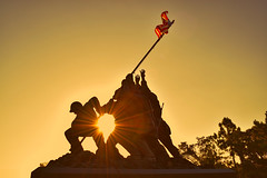 Replica of the Iwo Jima World War Two memorial statue. (Firefighting) Tags: world life light sunset shadow 2 two coastguard usa sun holiday colors statue set stars real army freedom coast nikon memorial war day unitedstates live stripes flag military united wwii guard navy hero ww2 marines semper fi heroes states patriot superheroes patriots nikkor veteran patriotism 1945 starsandstripes memorialday iwojima veterans semperfi iwo jima worldwartwo personnel sacrafice fidelis d5300