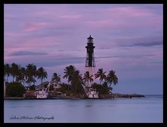 Hillsboro Lighthouse Florida (Valeri Pletnev) Tags: ocean sunset vacation sky lighthouse beach nature water coast landscapes boat florida outdoor dusk palm hillsboro ftlauderdale waterscapes phaseone p21