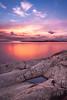 Sunset by the cliffs (mpakarlsson) Tags: ocean longexposure sunset sea sky cliff sun reflection rock clouds mirror dof sweden pov nd bohuslän grundsund ndfilter nd16