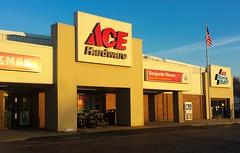 Ace Hardware, Twin Lakes Wisconsin (Cragin Spring) Tags: sign dusk building hardware store hardwarestore acehardware sunset flag unitedstates usa unitedstatesofamerica wisconsin wi southernwisconsin twinlakes twinlakeswi twinlakeswisconsin