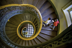 Boys ascending spiral staircase. (crabsandbeer (Kevin Moore)) Tags: art baltimore city mtvernon museum peabody spiral staircase boys peabodyconservatory college spiralstaircase birdseye architecture classical music geometry ascend steps stairs people candid pov