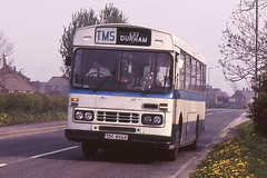TRIMDON MOTOR SERVICES TDC856X IS SEEN PASSING THROUGH BOWBURN IN MAY 1988 (47413PART2) Tags: tdc856x tms leyland leopard bus