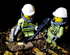 """I Detect, You Dig, Right!"" (Graham'M) Tags: lego minifigures figures toys metaldetector treasure digging pickaxe dig macro closeup tabletop"
