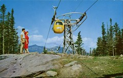 Gondola Cars, Wildcat Mt., Pinkham Notch, New Hampshire (SwellMap) Tags: postcard vintage retro pc chrome 50s 60s sixties fifties roadside midcentury populuxe atomicage nostalgia americana advertising coldwar suburbia consumer babyboomer kitsch spaceage design style googie architecture