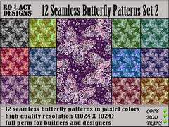Seamless Butterfly Patterns Set 2 Poster (..::RO!ACT::..DESIGNS) Tags: summer house color texture home animal shop butterfly insect spring clothing colorful pattern furniture designer pastel decoration sl fabric secondlife material decor seamless builder iw fullperm inworldz