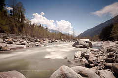 Beas River - Manali (Zak Photography) Tags: trees sky bw india water pine clouds forest river rocks long exposure filter nd manali beas 10stops