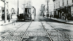S.E. Morrison & Water, c1915 (jackonflickr) Tags: street blackandwhite water pool oregon portland hall trolley room tracks historic cobblestone rails streetcar morrison 1915 sunnyside notmyphoto vintageportland
