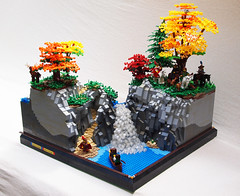 The Valleys Grow. (Mark of Falworth) Tags: trees mountain lake tree castle water rock forest waterfall rocks lego scene