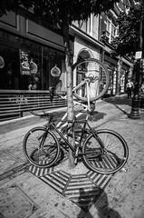 bike stack (Dan Chippendale) Tags: street blackandwhite white black london blackwhite wheels bikes stack gr ricoh ricohgr 21mm gw3 2013 ricoh21mmwideangleadaptor
