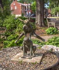 Leapfrog [Brenizer Method] (rbertschi) Tags: park ontario blur statue kids canon bokeh leapfrog depthoffield kingston shallow f18 stitched brenizer bokehpanorama brenizermethod