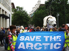 save the arctic (JudyGr) Tags: london giant march puppet banner protest greenpeace demonstration polarbear aurora shel savethearctic dsc06139l