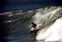 16-483 (ndpa / s. lundeen, archivist) Tags: ocean color film 35mm hawaii surf break oahu surfer nick wave surfing spray pacificocean northshore honolulu 16 curl 1970s 1973 breakingwave dewolf nickdewolf photographbynickdewolf reel16